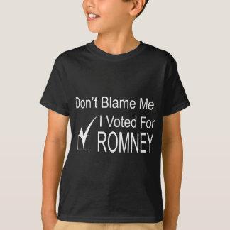Camiseta Não me responsabilize. Eu votei para Romney