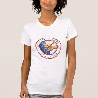 """Camiseta """"Não perfure logotipo afligido do nosso carro"""""""