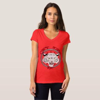 Camiseta Não pode domesticar o t-shirt do V-Pescoço do