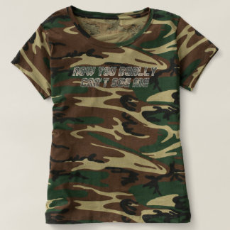 Camiseta Não pode ver-me o t-shirt da camuflagem das