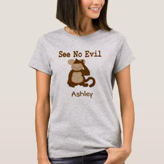 Camiseta Não veja nenhum t-shirt mau do macaco