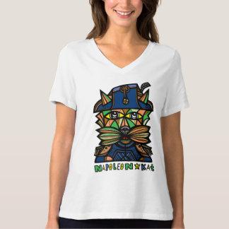 """Camiseta """"Napoleon Kat"""" relaxou o V-Pescoço apto"""