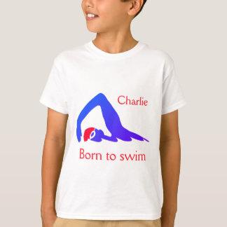 Camiseta Nascer a nadar, menino, azul, com seu nome