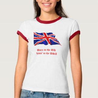 Camiseta Nascer no Reino Unido-Livin' nos EUA