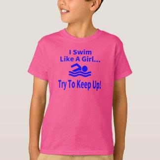 Camiseta Natação como uma menina