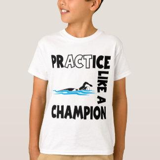 Camiseta Natação da prática, preta