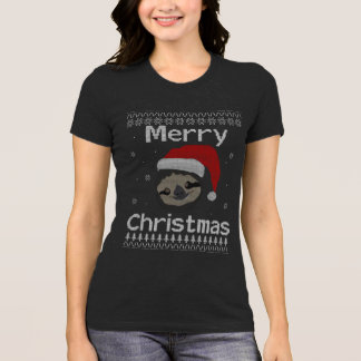 Camiseta Natal alegre da preguiça