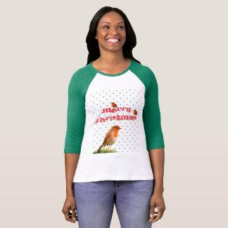 Camiseta Natal alegre do pisco de peito vermelho