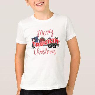 Camiseta Natal alegre engraçado de Truckin
