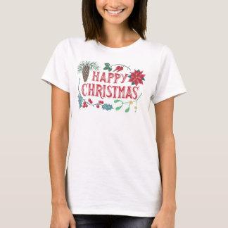 Camiseta Natal botânico tradicional (branco)