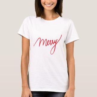 Camiseta Natal chique indicado por letras da mão da feliz  