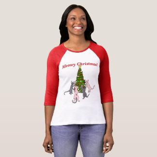 Camiseta Natal de Meowy! Sphynx e gatos do bebê