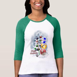 Camiseta Natal do boneco de neve da bola de bilhar