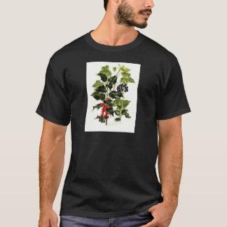 Camiseta Natal do design do azevinho e da hera