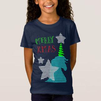 Camiseta Natal feio do teste padrão do unicórnio da