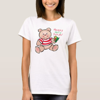 Camiseta Natal feliz dos dias do azevinho do urso