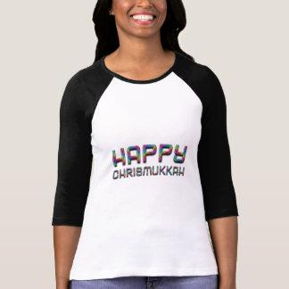Camiseta Natal feliz engraçado Hanukkah do arco-íris de
