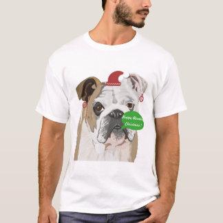 Camiseta Natal inglês engraçado do buldogue