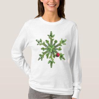 Camiseta Natal nevado do floco de neve do pinho