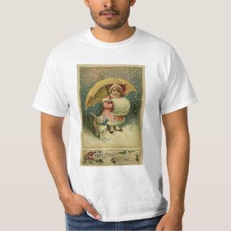 Camiseta Natal retro da criança e do gato do vintage do