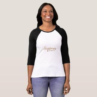Camiseta Natal simples da caligrafia do ouro