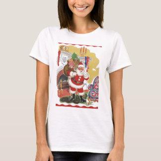 Camiseta Natal vintage, Papai Noel alegre com presentes