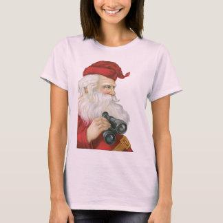 Camiseta Natal vintage, Papai Noel com binóculos