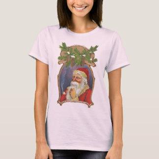 Camiseta Natal vintage, Victorian Papai Noel com tubulação