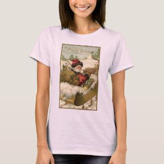 Camiseta Natal vintage, Victorian Papai Noel no trenó