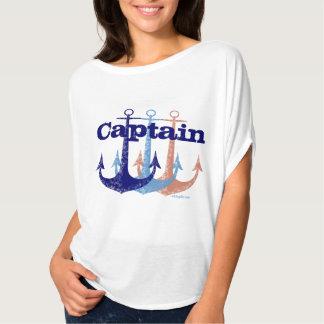Camiseta Náutico azul do capitão da âncora personalizado
