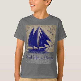 Camiseta Navegue como um pirata, menino náutico, vintage