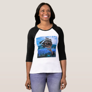 Camiseta Navio de pirata contra o calamar gigante