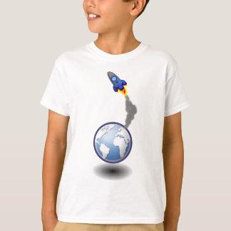 Camiseta Navio e globo de espaço dos desenhos animados