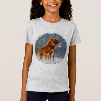 Camiseta Neve islandêsa do jogo do potro dos cavalos