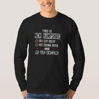 Camiseta New Hampshire come a cerveja da bebida da carne