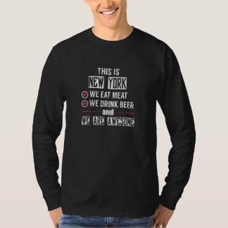 Camiseta New York come a cerveja da bebida da carne