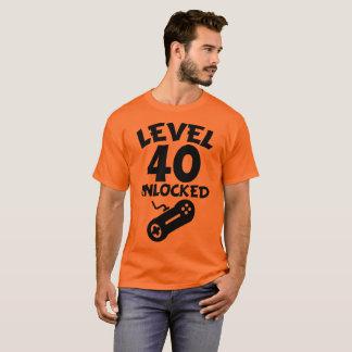 Camiseta Nível 40 destravado aniversário de 40 anos do