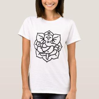 Camiseta No. 2 do elefante de Ganesha (branco preto)