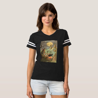 Camiseta Noite da Lua cheia do caldeirão do fogo da bruxa