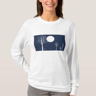 Camiseta Noite do inverno com Lua cheia - t-shirt do