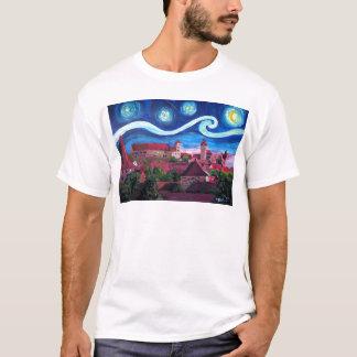 Camiseta Noite estrelado em Nuremberg Alemanha com castelo