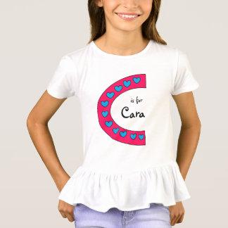 Camiseta Nome cor-de-rosa e azul bonito das meninas da