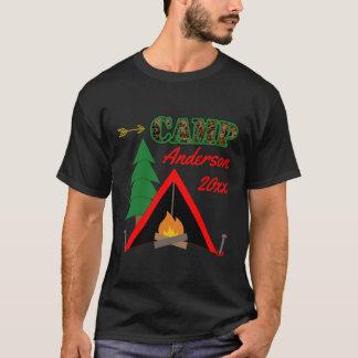 Camiseta Nome de acampamento desportivo da barraca da