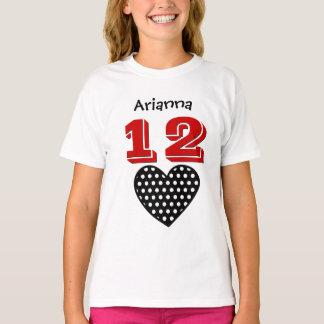 Camiseta Nome feito sob encomenda V04 do coração grande da
