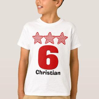 Camiseta Nome grande do costume do número de 6 estrelas do
