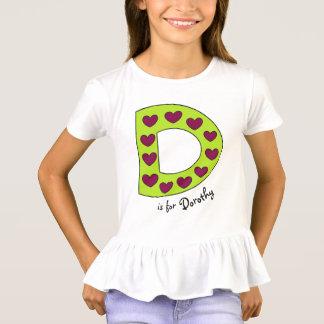 Camiseta Nome personalizado D bonito e colorido das meninas