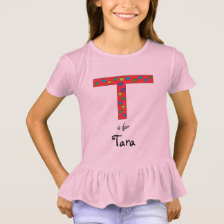 Camiseta Nome personalizado das meninas da letra T design