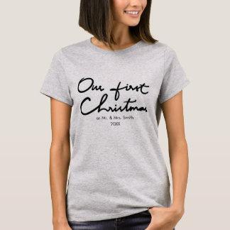 Camiseta Nosso primeiro Natal como o Sr. e a Sra. Chique