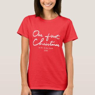 Camiseta Nosso primeiro Natal como o Sr. e a Sra. Primeiro