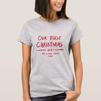 Camiseta Nosso primeiro Natal como o Sr. e o Natal de